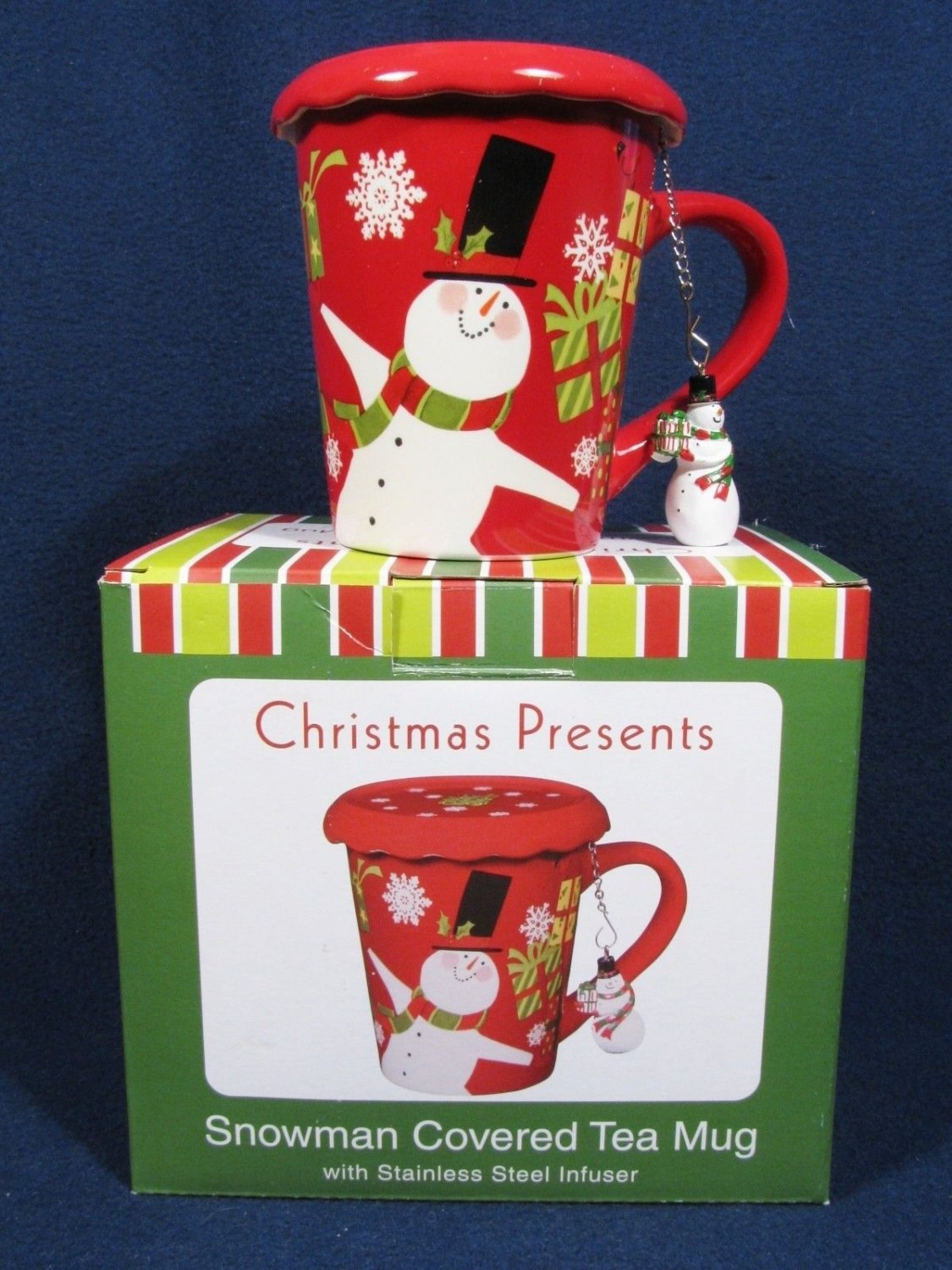 Certified Int'l Susan Winget  Snowman Covered Tea Mug w/ Stainless Infuser Fast Free Ship