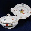 VTG LICHTE Porzellan Porcelain Covered Dish & Candy Platter Set Floral Germany Fast Free Ship