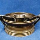 Vintage Metal Pedestal Handled Nutcracker Bowl w/ 2 Nutcrackers and 7 Picks Fast Free Ship