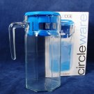 CIRCLEWARE LODGE Glass 50 Oz  Drink Pitcher Blue Lid w/ Original Box Fast Free Ship