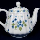ANDREA by SADEK Porcelain Teapot Ribbed Delicate Blur Flowers w/ Strainer