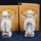 VTG 1991 LEFTON Set of 2 Praying ANGELS Handpainted Figurine Original Box Fast Free Ship