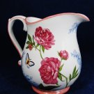 "HARRY & DAVID Water Juice Pitcher Floral Peonies Butterfly Hydrangeas 7 1/4"" Fast Free Ship"