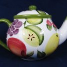 Pacific Rim Handpainted Ceramic Teapot Fruit Pattern Melon Pineapple Mango Grapes 32 Oz