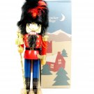 "NUTCRACKER VILLAGE Christmas 1998 Wooden Toy Soldier Fur Hat 12"" w/ Original Box  Fast Free Ship"