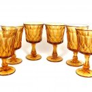 Set of 6 Amber Retro Noritake Perspective Iced Tea Water Wine Goblets Glasses Fast Free Ship