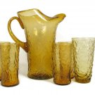 Seneca Morgantown RETRO Amber DRIFTWOOD Ice Lip Pitcher Crinkle Tumbler Glasses