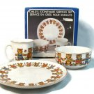 """Action 1985 Child's Stoneware Serving Set 71/4"""" Plate Bowl and Cup Teddies NEW FREE SHIP"""