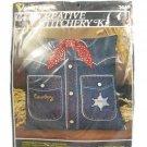 Vogart Crafts Crewel Stitchery Cowboy Deputy Denim Shirt Pillow Kit Fast Free Ship
