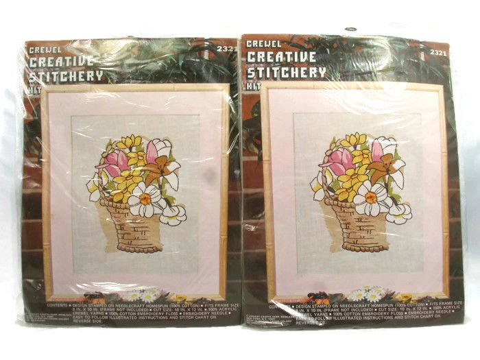 Vogart Crafts Set of 2 Crewel Embroidery Stitchery Picture Kit Spring Basket Fast Free Ship