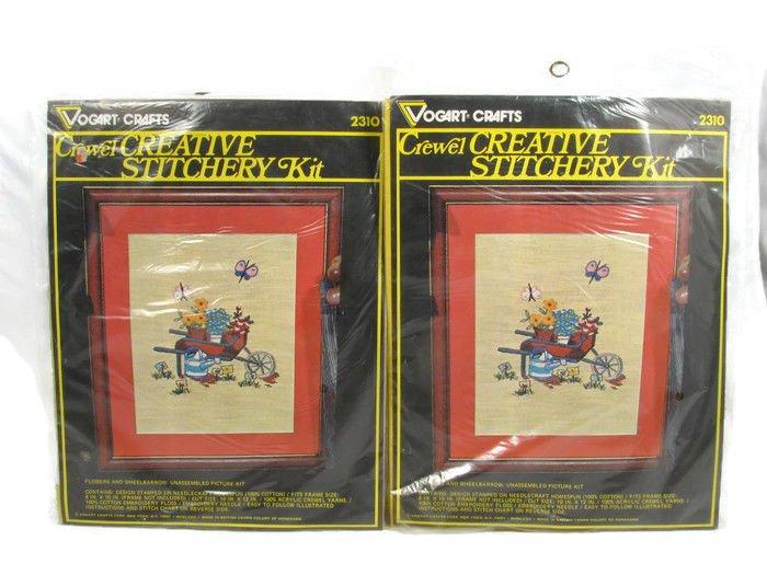Vogart Crafts Set 2 Crewel Stitchery Picture Kit Flowers & Wheelbarrow Fast Free Ship