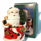 "SANTA CLAUS Storage Christmas 11 1/4"" Cookie Jar Painted Ceramic w/ Original Box Fast Free Ship"