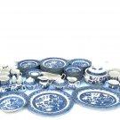 Churchill Staffordshire Blue Willow Dinnerware Set Plates Bowls Cups 105 Pcs Fast Free Ship