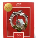 """LENOX 2015 Bless This Home Holiday Christmas Wreath House Ornament 3.5"""""""