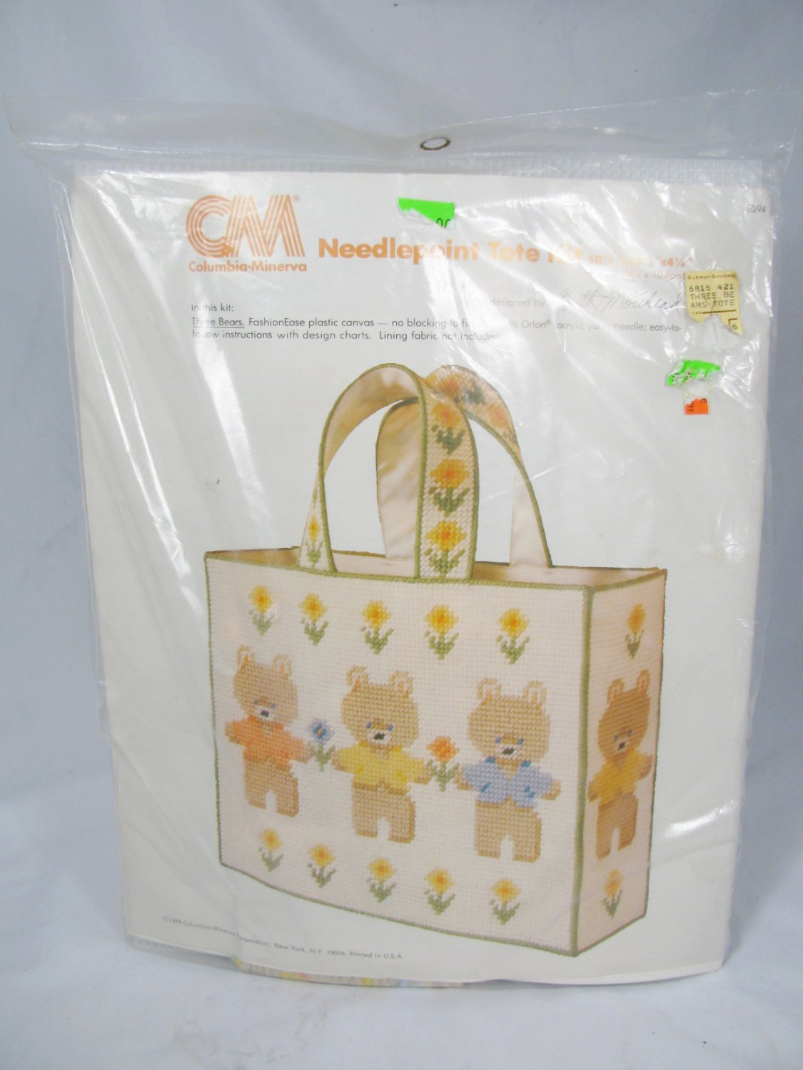 Columbia Minerva Three Bears Plastic Canvas Needlepoint Tote Kit 1979 NEW
