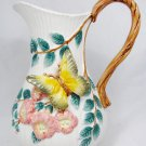 Fitz and Floyd Classics White Pitcher Vase Pink Floral Butterfly Vine Handle 10""