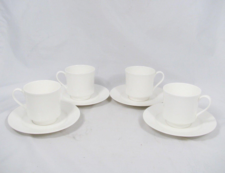 Lenox DECOR Set of 4 Snow White Coffee Tea Cup & Saucer Fine China 6 Oz