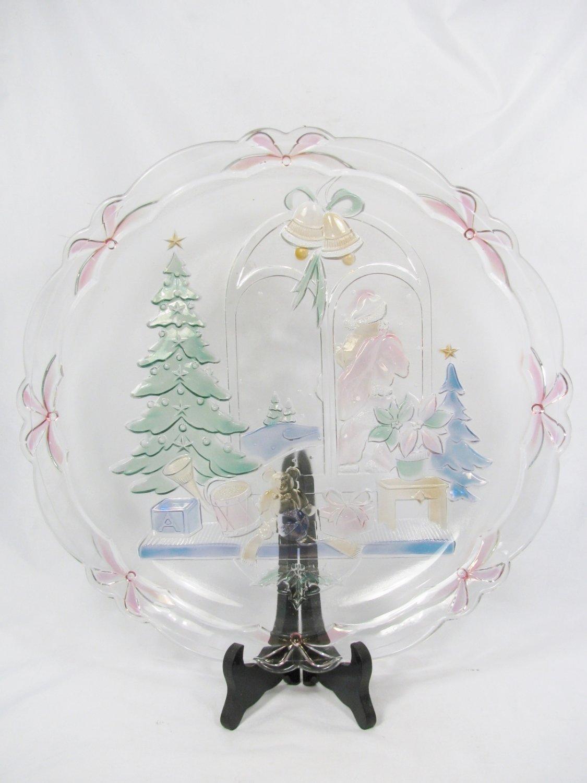 "Crystal Clear Studio Christmas Joy 14"" Round Glass Platter Handpainted #312230"