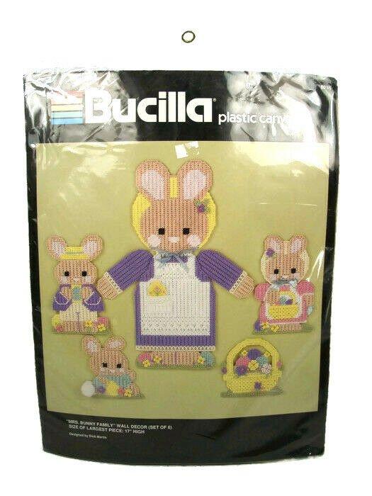 Bucilla Mrs Bunny Easter Family Wall Decor Set of 6 Plastic Canvas Kit 6015 NEW