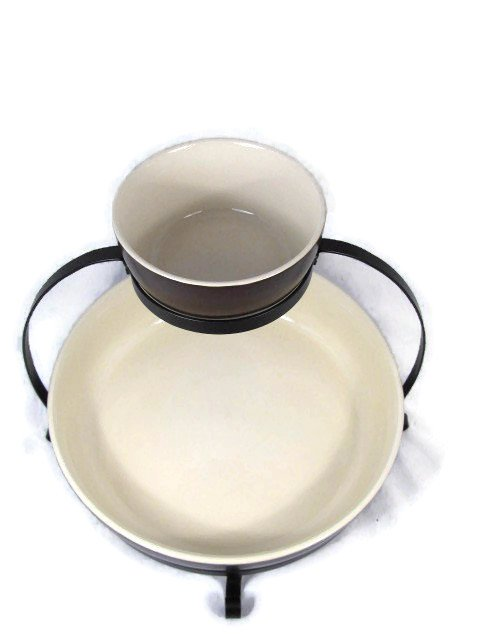 Parini 2 Tier Chip & Dip Serving Tray Set With Rack Brown/Cream