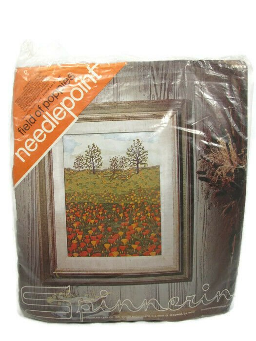 Spinnerin Yarn Marjorie Gosz 70's Field of Poppies Needlepoint Craft Kit