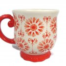 Pioneer Woman Floral Burst Red White Decorative Coffee Mug Cup Stoneware 19 Oz
