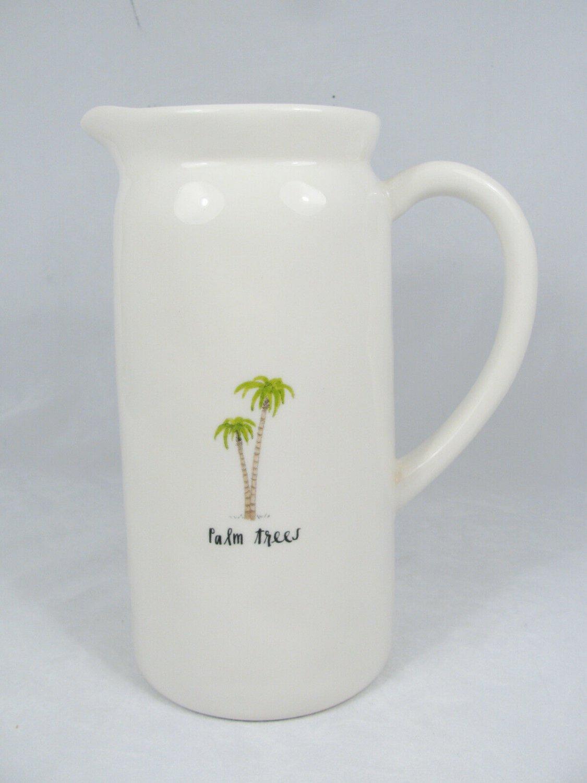 """Rae Dunn Artisan Magenta Palm Trees White Pour Pitcher 8 3/4"""""""