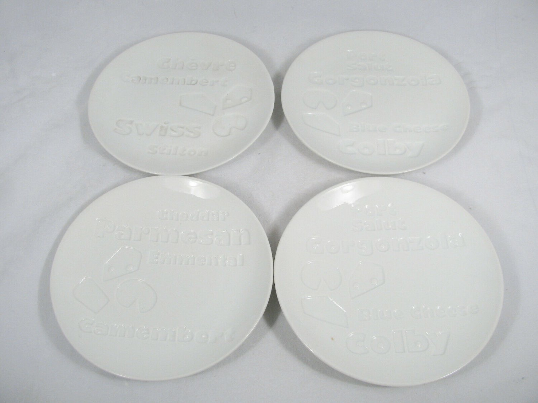 """Bia Cordon Bleu Set of 4 Porcelain Appetizer Plates Tray Swiss Parmesan 6.5"""""""