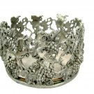 """Scents & Accents 1998 Fine Pewter Round Candleholder Grapevine 4 1/4"""""""
