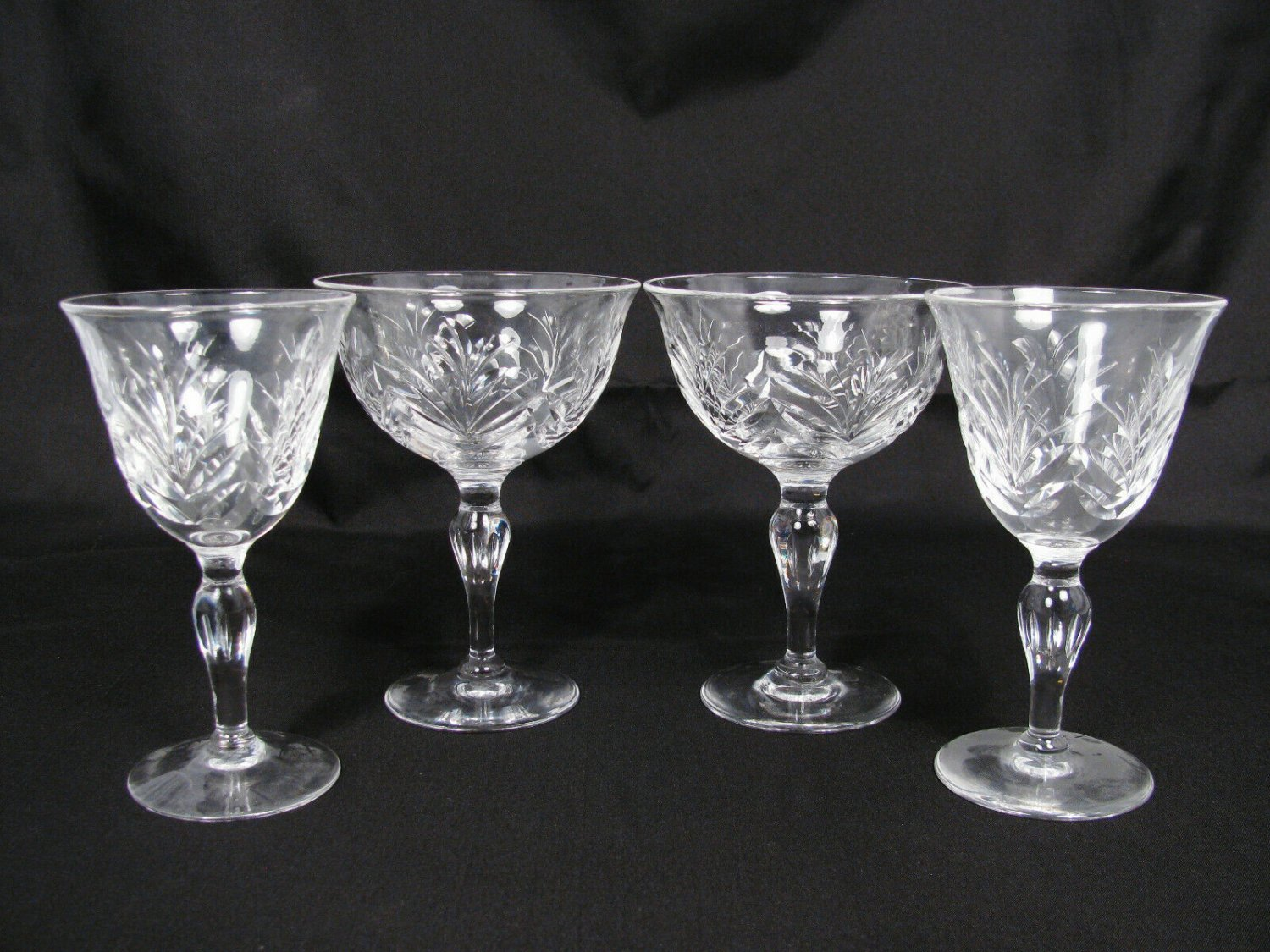 Stuart England Crystal Glass 4 Stemware Water Wine Goblets 5 1/8""