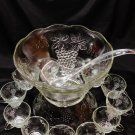 Vintage Anchor Hocking Punch Bowl Set Grapevine Service for 12 600/75A
