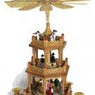 Joybrite Wood Windmill Christmas Nativity Pyramid 3 Tier Carousel Candle Holder
