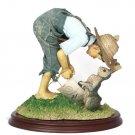"Clothtique Possible Dreams Springtime Norman Rockwell Boy & Bunnies Statue 9.5"""