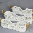 Porcelain Treasures White Gold 3 Utensil Flatware Silverware Holders Caddy