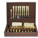 Personally Yours China Engraved 60 Pieces Gold Plated Flatware with Wooden Case