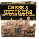 Chess & Checkers With Glass Chess Board Clear & Frosted Pieces