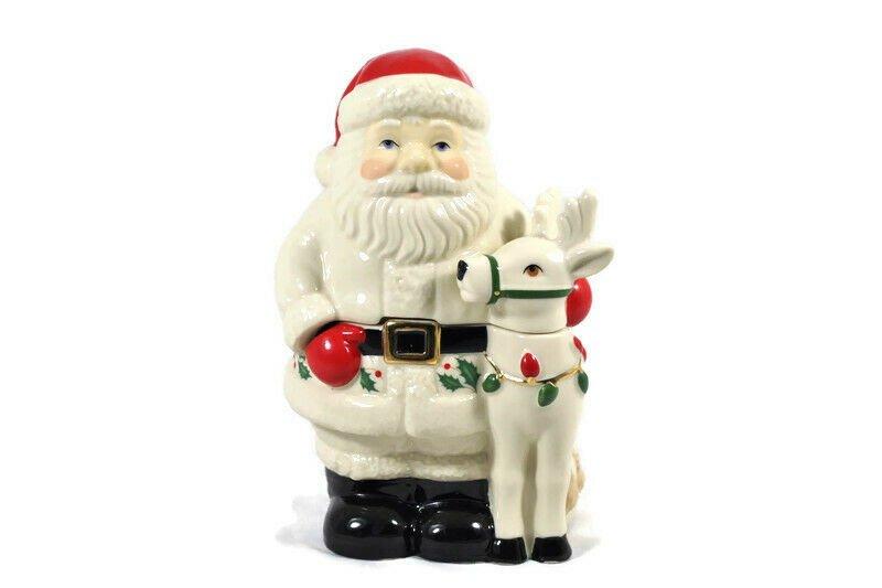 Lenox Holiday Santa & Deer Covered Candy Dish 6.5 Inch