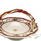 Fitz and Floyd Woodland Holiday Basket Handled Candy Dish