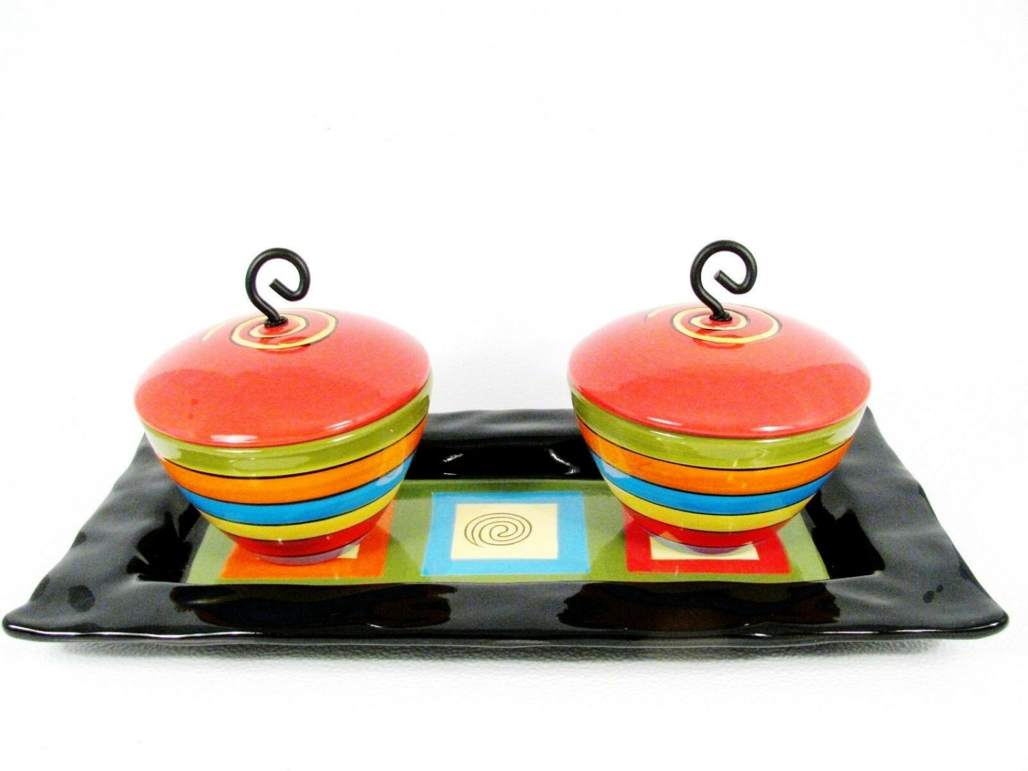 Popular Creations Rectangle Serving Tray & Dip Bowls Lidded Artisan Partyware