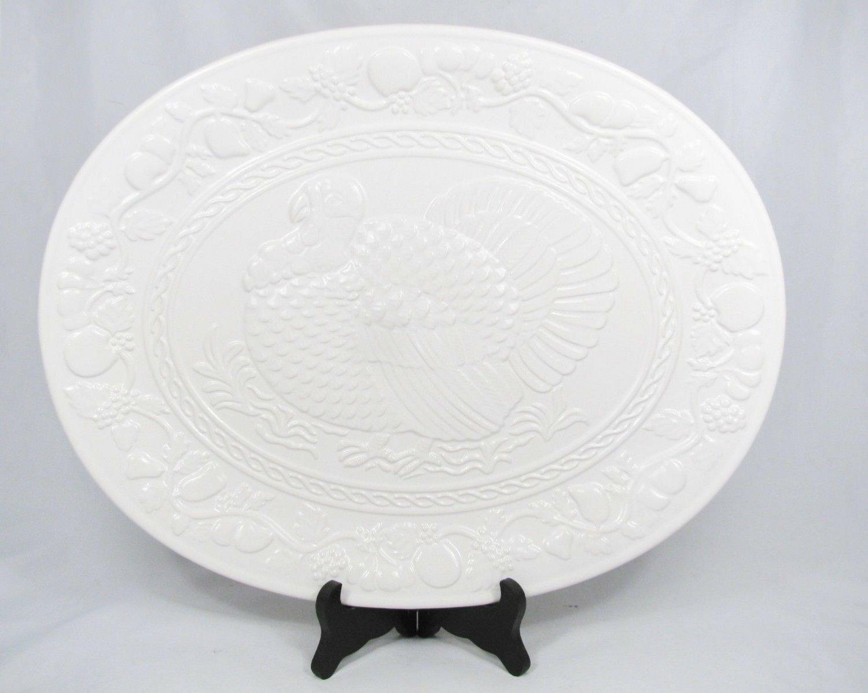 Kitchen Worthy White Turkey Embossed Oval Serving Platter Large