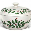 Lenox Holiday Small Round Lidded Casserole Holly and Berries Oven Safe 2 Qt