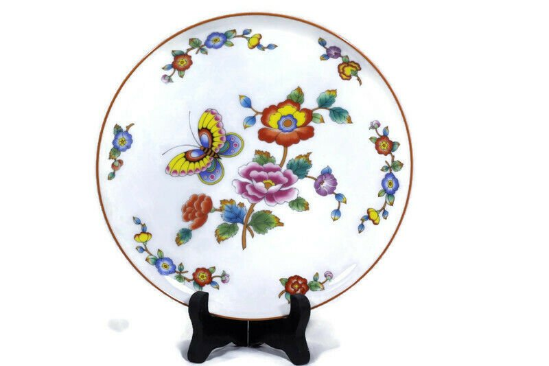 Estee Lauder Set of 6 Salad Bread Plates Butterfly Floral Chinoiserie Porcelain