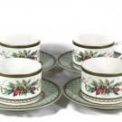 Fitz and Floyd 1999 Classic Choices Winter Holiday Cup Saucer 4 Pc Set