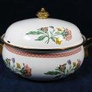 "Enamel Ware Cookware Dish Pot Brass Handles Floral Covered Casserole 10 3/8"""