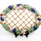 Fitz & Floyd Christmas Holly Grapes Rose Handled Lattice Oval Serving Platter