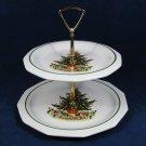 Pfaltzgraff  2 Tiered Christmas Tree Snacks Cookies Serving Tray w/ Handle