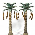 Set of 2 Pillar Candle Holders Island Tropical Palm Trees Cast Metal 11 3/8""