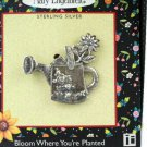 Mary Engelbreit Bloom Where You're Planted Sterling Silver Mini Pin Brooch