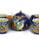Henriksen Imports 1994 Majolica Partridge in a Pear Tree Teapot and Cups Set