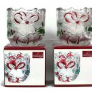 """Celebrations by Mikasa Set of 2 Crystal Glass Holiday Bells Holly Berry 3.25"""""""
